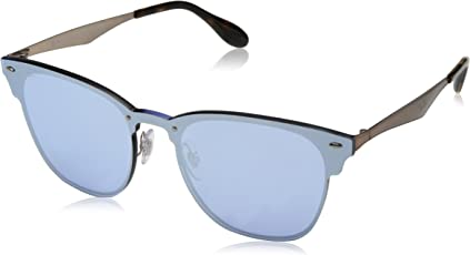 Ray-Ban Mirrored Square Unisex Sunglasses - (0RB3576N90391U47|47|Dark Violet Mirror Silver Color)