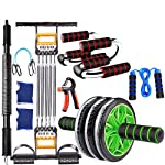 Abdominal Wheel With Elastic Rope Arm Force Push-Up Bracket Multi-Function Puller Fitness Gloves Grip Jump Rope Reduce...