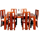 Evok Della Solidwood Six Seater Dining Set in Brown Colour