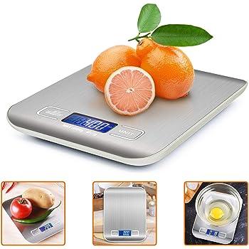 iKALULA Bilancia da Cucina Digitale, Alta Precisione Misurazione 1g a 5kg Bilancia Digitale LCD Display Multifunzionale Bilancia da Cucina Elettrica (2 Batterie Incluse)