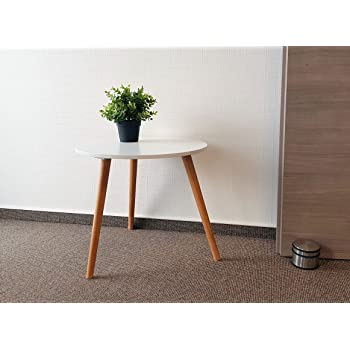 Design Couchtisch weiß - Retro Beistelltisch 48 cm - Holz Deko Tisch ...