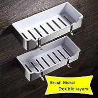 JIUBAQU Mensola portaoggetti per Bagno con Angolo portaoggetti Doccia con Ventosa Mensole per Bagno da Cucina ad Angolo per la casa Bianco