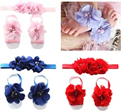 BabyMoon Baby Girl's Flower Headbands and Barefoot Sandals (Scarlet Red)