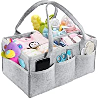 M MUNCASO Baby Diaper Caddy Organizer, Foldable Felt Storage Bag with Multi Pockets and Flexible Compartments, Portable Car Travel Organizer for Changing Nappy, Wipes, Newborn Shower Gift