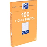 Oxford Etui de 100 Fiches Bristol Blanches A4 (21 x 29.7cm) Petits Carreaux 5x5mm Perforées 210g