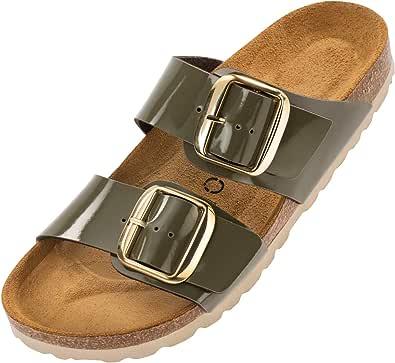 Palado® Damen Sandale Samos GS in vielen Farben   Made in EU   Pantoletten mit Natur Kork-Fussbett und weichem Fußbett   Hausschuhe mit Sohle aus feinem Velourleder