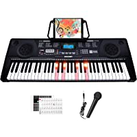 Souidmy Electric Key-Light Keyboard 61 Full-size Piano Keys with Microphone ,Bluetooth, Built-in Speakers, Dual Power…
