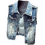 Donna Slim Fit Gilet Jeans Senza Maniche Giacca Corte Eleganti