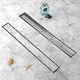 uyoyous Canaleta de ducha de 90 cm, desagüe de suelo de acero inoxidable, desagüe de azulejos, sifón autolimpiable para baño,