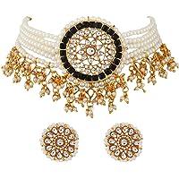 Shining Diva Fashion Latest Stylish Choker Traditional Pearl Kundan Necklace Jewellery Set for Women