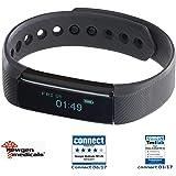 Newgen Medicals Uhr mit Vibrationsalarm: Fitness-Armband FBT-25, Bluetooth, Benachrichtigungen, OLED, IP67 (Schrittzaehler)