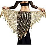 Vritraz Women's Chiffon Belly Dance Hip Scarf Waistband Belt Skirt Mixed Colors Sequence Beads and Coins