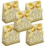 50 Pièces Boîte à Bonbons à Motif Doré, Bonbonnières Sachet Chocolat, Boîte à Dragées Boîte Cadeau Motif, Bonbons Cadeau Boît