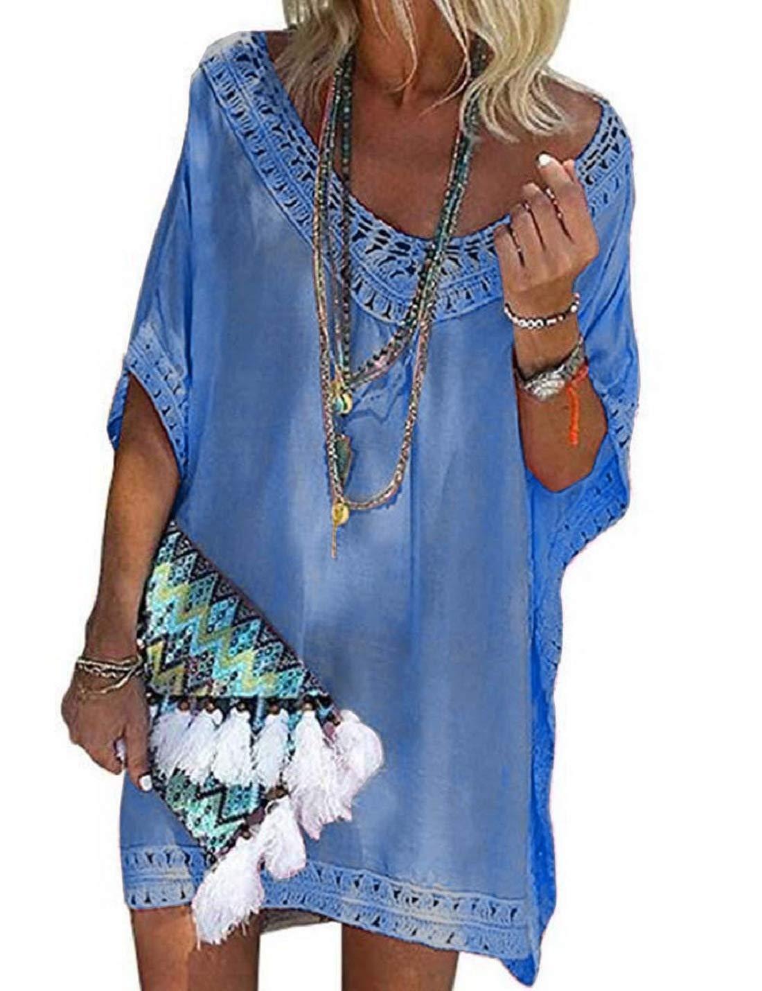 brand new bad5a 34f0d Voqeen Costume da Bagno Donna Copricostume Mare Abito da Bagno Bikini Cover  Up Camicetta Boemo Chiffon Costume da Bagno Abito Copricostumi Uncinetto ...