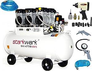 Starkwerk Silent Druckluft Kompressor SW 477/8 Ölfrei 100L Kessel SET