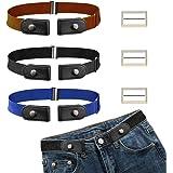CODIRATO 3 PCS Cinturón Elástico sin Hebilla Ajustable Cinturón Invisible 55-95cm Cinturón Unisex sin Hebilla para Pantalones