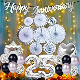 Party Propz 25th Anniversary Decoration for Home - 49Pcs Combo 25 Happy Anniversary Banner Kit, Metallic Balloons, Silver Fan