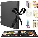 BOZHZO Album Photo Scrapbooking Traditionnel, 80 Pages Kit de Livre Photo Mémoire, 10 Couleurs Stylos Marqueurs et 8 Feuilles