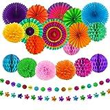 aovowog 21 st festdekorationer set hängande pappersfläktar pom blommor honungskaka bollar girlanger mexikansk festdekoratione