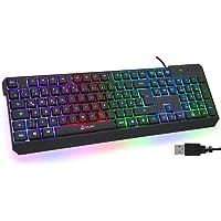KLIM Chroma Gaming Tastatur QWERTZ DEUTSCH mit Kabel USB + Langlebig, Ergonomisch, Wasserdicht, Leise Tasten + RGB Gamer…