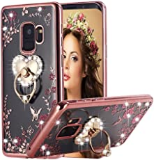 LOXXO Infinity Heart Crystal TPU Flower Butterfly Case with Detachable Rotating Ring Stand for Samsung Galaxy J6 (Rose Gold)