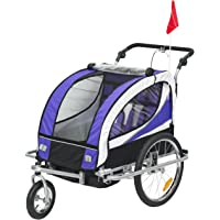 HOMCOM 2 in 1 Kids Bicycle Trailer Baby Child Stroller Jogger 360° Rotatable for 2 Kids Steel Frame LED Light Purple