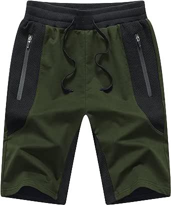JustSun Mens Shorts Summer Sports Running Shorts with Zip Pockets