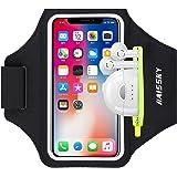 HAISSKY Löparmband med Hörlurar-väska sport telefonarmband för iPhone 12/12 Pro/11/11 Pro/XS/XR/X/8 Plus sport telefonhållare