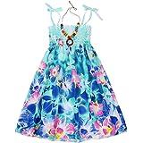 Edjude Niñas Vestido de Verano Floral Niñita Vestidos Cabestro Ropa Casuales Fiesta Partido Playa Collar 1-9 Años