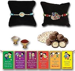 BOGATCHI Chocolate Coated Butterscotch Nuts/Crispy - 50g FREE with 2 Beautiful Unique Designer Rakhi, Set of 2 Rakhi, Best Rakhi for Brother + FREE Roli Chawal + FREE Rakhi Special Brother Sister Story Cards Set