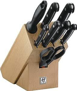 Zwilling 31665-000-0 Twin Gourmet Messerblock aus Holz, 9-teilig, Rostfreier Spezialstahl, Sonderschmelze, Friodur eisgehärtet, mit Schere und Wetzstahl, braun-schwarz
