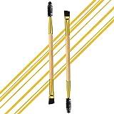 2 pennelli professionali angolati a doppia estremità per sopracciglia e ciglia, in legno naturale, per sopracciglia, sopracci