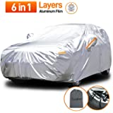 Audew Full Car Cover Sedan Car Covers 6 in 1 Layer Waterproof for SUV, Breathable, Dustproof, UV and All Weather…