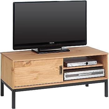 idimex lowboard tv mobel selma fernsehtisch fernsehschrank im industrial design mit 1 schiebetur 1 offenes fach kiefer massiv gebeizt gewachst
