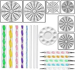 Mandala Rock Punktierung Werkzeuge, Einschließlich Mandala Dot-Painting Schablonen Set (S + M + L) 8/12/16 Segment, 8 Flachkopf Acryl Punktierung Rods, 5 Stück Kugelschreiber und 1 Stück Farbschale