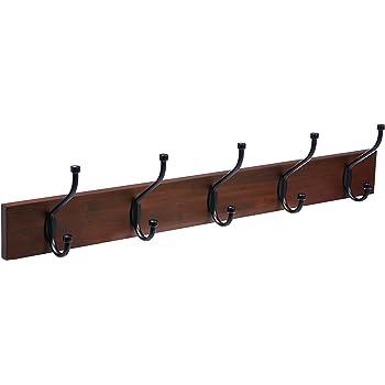 AmazonBasics-Wall Mounted Hook/Hanger/Coat Rack, Light Walnut