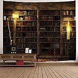 D C.Supernice Salle familiale décorée de Tapisserie de Style bibliothèque étagère Murale Livre Abstrait Art Tapisserie Murale