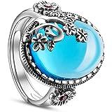 SHEGRACE Damen Vintage Ring aus 925er Sterlingsilber mit Granatapfelblüte und Ovalem Granat Fingerring, Erhältlich, 19 mm, Ve