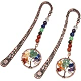 CrystalTears Segnalibro in Metallo Segno Pagina Segnalibri Vintage Stella Luna con Ciondolo 7 Chakra Perline Cristallo Energi