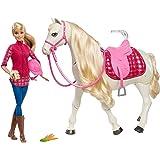 Barbie FTF02 - Traumpferd und Puppe, laufendes und tanzendes Pferd mit Berührungs- und Geräuschsensoren, Mädchen Spielzeug ab 3 Jahren