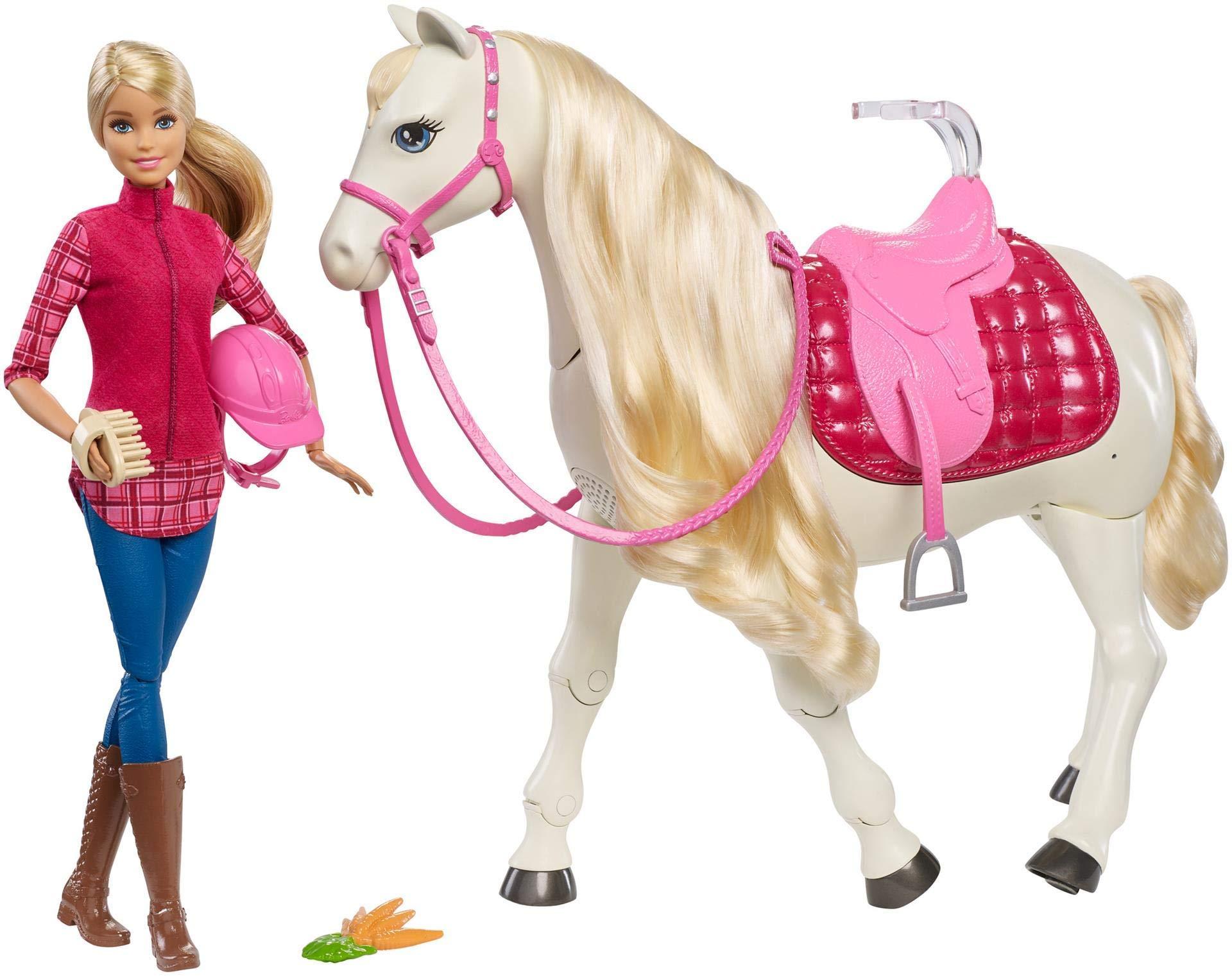 Barbie FTF02 - Traumpferd und Puppe, laufendes und tanzendes Pferd mit Berührungs- und Geräuschsensoren, Mädchen…