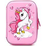 Astuccio rigido con unicorno volante goffrato - grande scatola per la scuola con scomparti - borsa per cancelleria per bambin