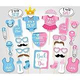 KMALL 30 pezzo Baby Shower photo props Funny Voto Theme maschere Photobooth Prop unisex Newborn Boy Girl party decorazioni