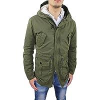 Giaccone Uomo Parka Verde Militare Casual Invernale Giacca Cappotto con Pelliccia Interna