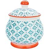Nicola Spring Gemusterte Zucker-Dose/Topf mit Deckel - Blau/Orange x1