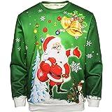 JOLIME Christmas Sweatshirt Mens Unisex Ugly Sweater 3D Reindeer Santa Light Xmas Graphic Jumper