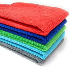 Sobby Ultra Super Absorbent Extra Thick Multipurpose Microfibre Cloth for Car Cleaning (Multicolour, 40x40cm) - Set of 5