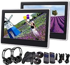2ST Dual-11.6-Zoll-Kopfst¨¹tzen DVD-Player Auto-Video-LCD-Screen-Monitor mit 2PCS IR Kopfh?rer Unterst¨¹tzung IR FM AV-IN / Out Multi-OSD-Sprache USB / SD