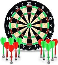 """Towinle Dartscheibe, 17"""" Magnetische Dartscheibe mit 12 Magnet Dart Dartboard 12 Pfeile in 2 Farben Aufrollbare Dartscheibe für Kinder und Erwachsenen"""