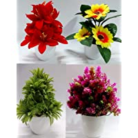 Dekorly Artificial Bonsai Wild Plant with Pot (Yellow, Green, Red, Maroon, Set Of 4)